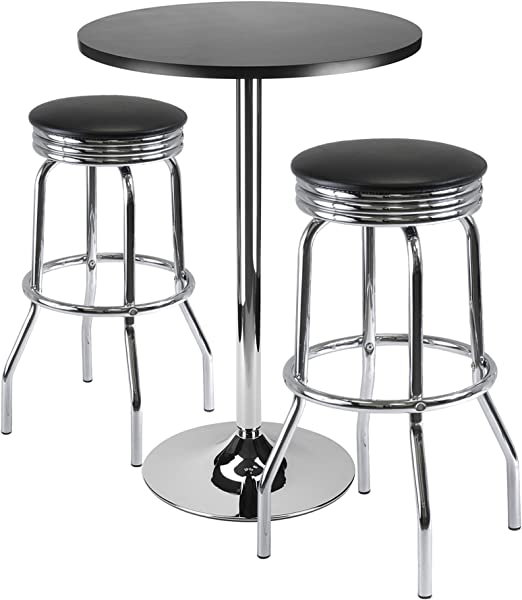 Winsome Summit 3 Piece Bar Table Set With 24 Inch Table And 2 Stools