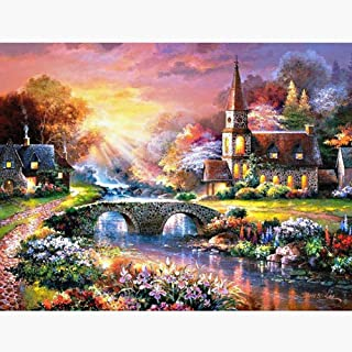 DIY 5D Diamond Painting Kits for Adults, Full Drill Crystal Rhinestone Diamond Embroidery Paintings Pictures Arts Craft for Home Wall Decor (Town, 11.8 X 15.7 in)