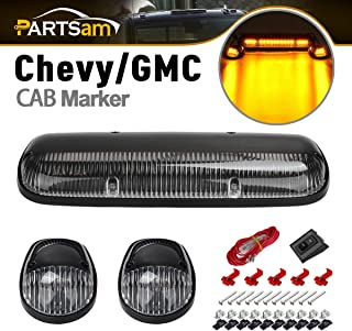 Partsam 3PCS Clear Cover Amber 30 LED Cab Roof Top Marker Lights Compatible with Chevrolet Silverado/GMC Sierra 1500 1500HD 2500 2500HD 3500 2002 2003 2004 2005 2006 2007 Pickup Trucks