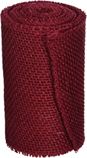 DARICE 2914-044 240gm Burlap Ribbon, 6-Inch by 5-Yard, Red