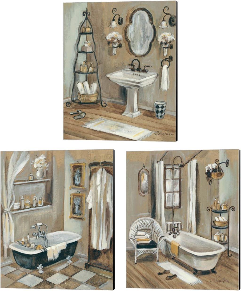 Amazon Com French Bath By Silvia Vassileva 3 Piece Canvas Art Set 12 X 15 Inches Each French Bathroom Art Posters Prints