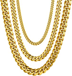 Stainless Steel Cuban Chain/Snake Chain/Round Box Chain, Black/18K Gold Plated, Chain Necklace for Men Women, W: 4mm-14mm, L:18''-30'' (with Gift Box)