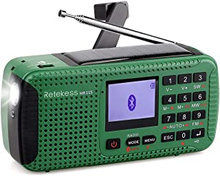Retekess HR-11S Emergency Radio Solar Hand Crank Radio AM FM Shortwave Radio Dynamo Wireless MP3 Player USB Charger Cable ...