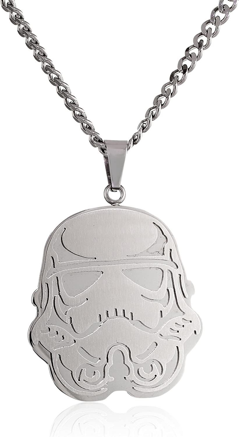 Star Wars Jewelry Unisex Storm Trooper Stainless Steel Chain Pendant Necklace, 24