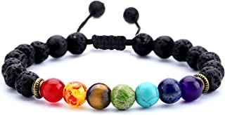 Men Women 8mm Lava Rock 7 Chakras Aromatherapy Essential Oil Diffuser Bracelet Braided Rope Natural Stone Yoga Beads Bracelet Bangle-21004