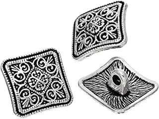 PEPPERLONELY Brand 10PC Sewing Metal Buttons Square Antique Silver Flower Pattern Carved 13mm x 13mm(4/8 x 4/8)
