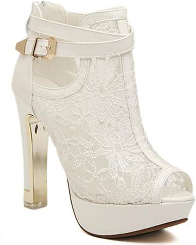 New Lace Women Platform Pumps Sandals White Mesh Black High Heels Peep Toe shoes