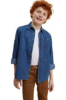 DeFacto Contrast Stitched Detail Roll-Up Long Sleeves Denim Shirt for Boys