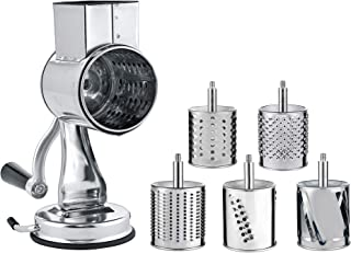 Stainless Steel Cheese Grater Rotary Chopper - MASTER FENG 5 Blades Included Kitchen Vegetable Shredder Salad Slicer, Multi-Use Hand Cutter Graters for Nut, Potato (Silver)
