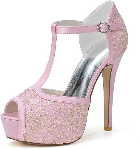Femmes pour Les Chaussures De Mariage Pompes Escarpins Satin De Soie Cour Ivoire Boucle Ronde Slip Mary Jane Mi Talons Hauts   12,5 Cm Talon