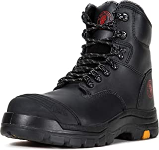 Work Boots for Men, 8 inch, Steel Toe, Slip Resistant Safety Oiled Leather Shoes, Static Dissipative, Breathable, Quick Dry, Anti-Fatigue, AK232 AK245