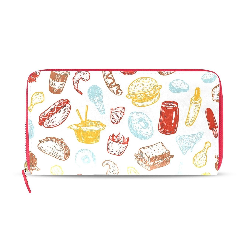 束ねる見分ける貝殻AOMOKI 財布 レディース 長財布 大容量 ハンバーガー カラフル ラウンドファスナー PUレーザー 幅20*丈11cm