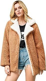 Women's Faux Fur Coats,Winter Solid Lapel Turn Down Collar Slim Zipper Short Cropped Jackets Parkas Wool Coat for Women