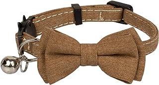 Gyapet Cat Collar Breakaway Bowtie Bow Safety with Bell Adjustbale Kitten Puppy Set [1pc] Brown