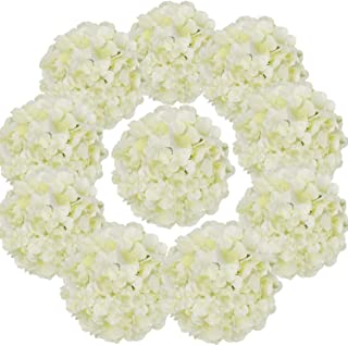Flojery Silk Hydrangea Heads Artificial Flowers Heads with Stems for Home Wedding Decor,Pack of 10 (Ivory)