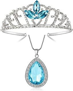 Vinjewelry Elsa Tiara Kids Blue Rhinestone Crown and Necklace Set Girls Princess Costume