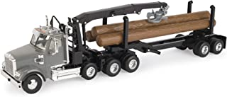 John Deere Freightliner 122SD Logging Truck with Grapple & Logs, Gray, Brown