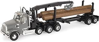 John Deere Freightliner 122SD Logging Truck with Grapple & Logs, Gray, Brown