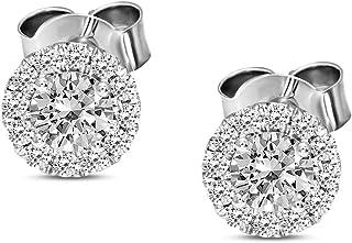 Valentines Day Gifts IGI Certified Lab Grown Diamond Earrings 14K White Gold 1 carat Lab Created Diamond Halo Stud Earring...