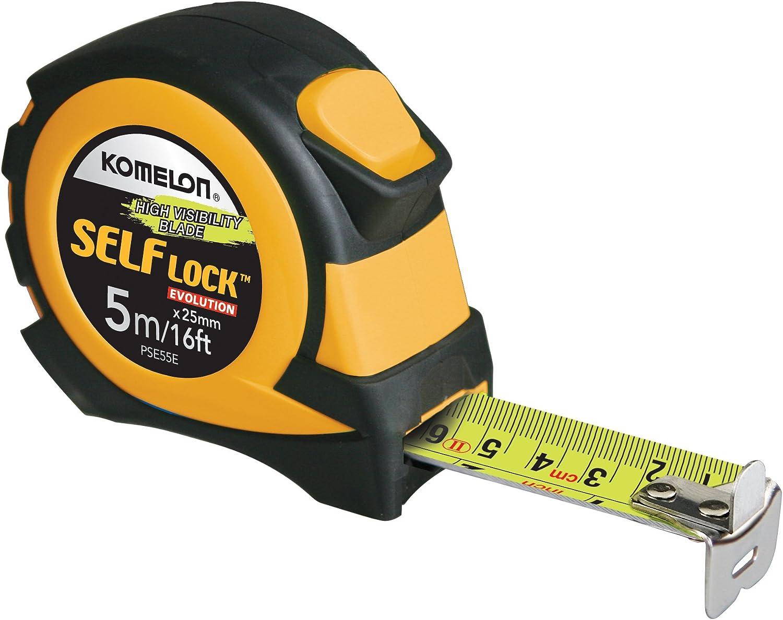 Komelon PSE55E 5M/16' Metric Self-Lock Tape Measure, Yellow/Black : Everything Else