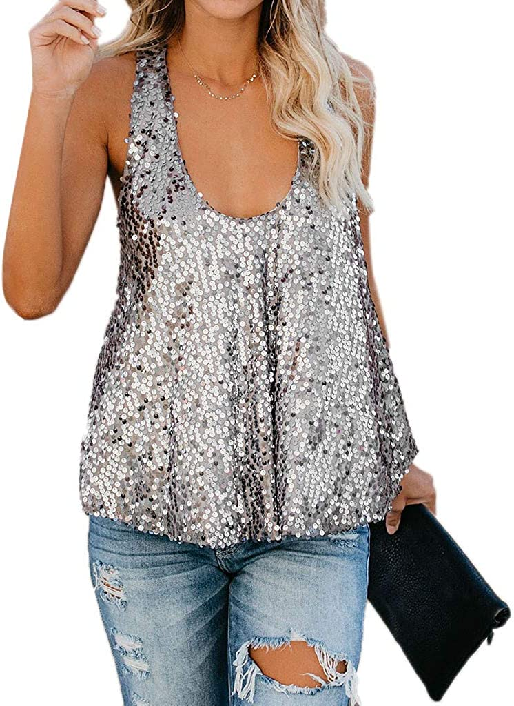 Y2k Tops for Women Sexy Glitter Strappy Vest Tops Cami Tank Tops Sleeveless Crop Ladies Camisole Summer Shirts