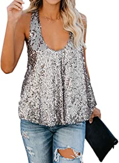 5798a0b021a322 Lucoo Women s Sequins Vest Sleeveless Cold Shoulder Loose Tank Tops Blouse  Sexy Shirt