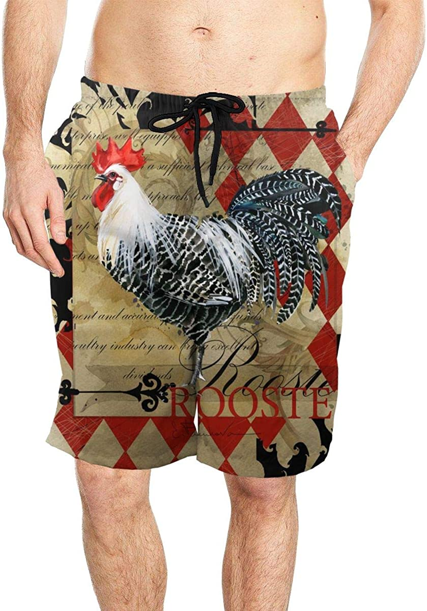 DASMUS Rooster Vintage Poster Men's Quick Dry Beach Board Shorts Swim Trunks with Mesh Lining