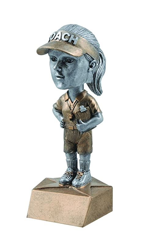 Decade Awards Coach Bobblehead Trophy - Female   Coach Award   6 Inch Tall - Free Engraved Plate on Request