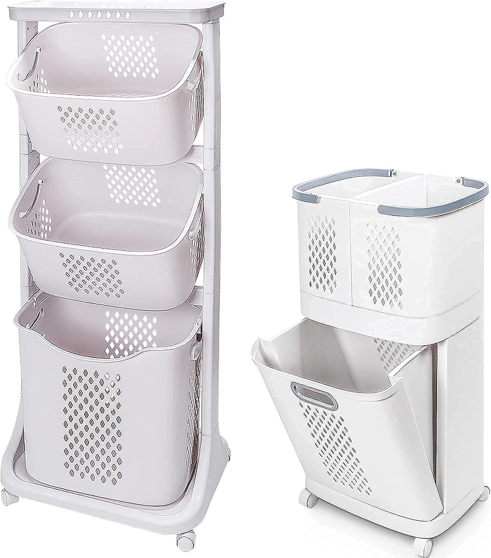 Sale Homde Now on sale Laundry Basket Bundle: 3 Laun and Tier Cart 2