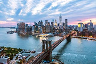 New York City Manhattan Brooklyn Bridge at Dusk Photo Art Print Cool Huge Large Giant Poster Art 54x36