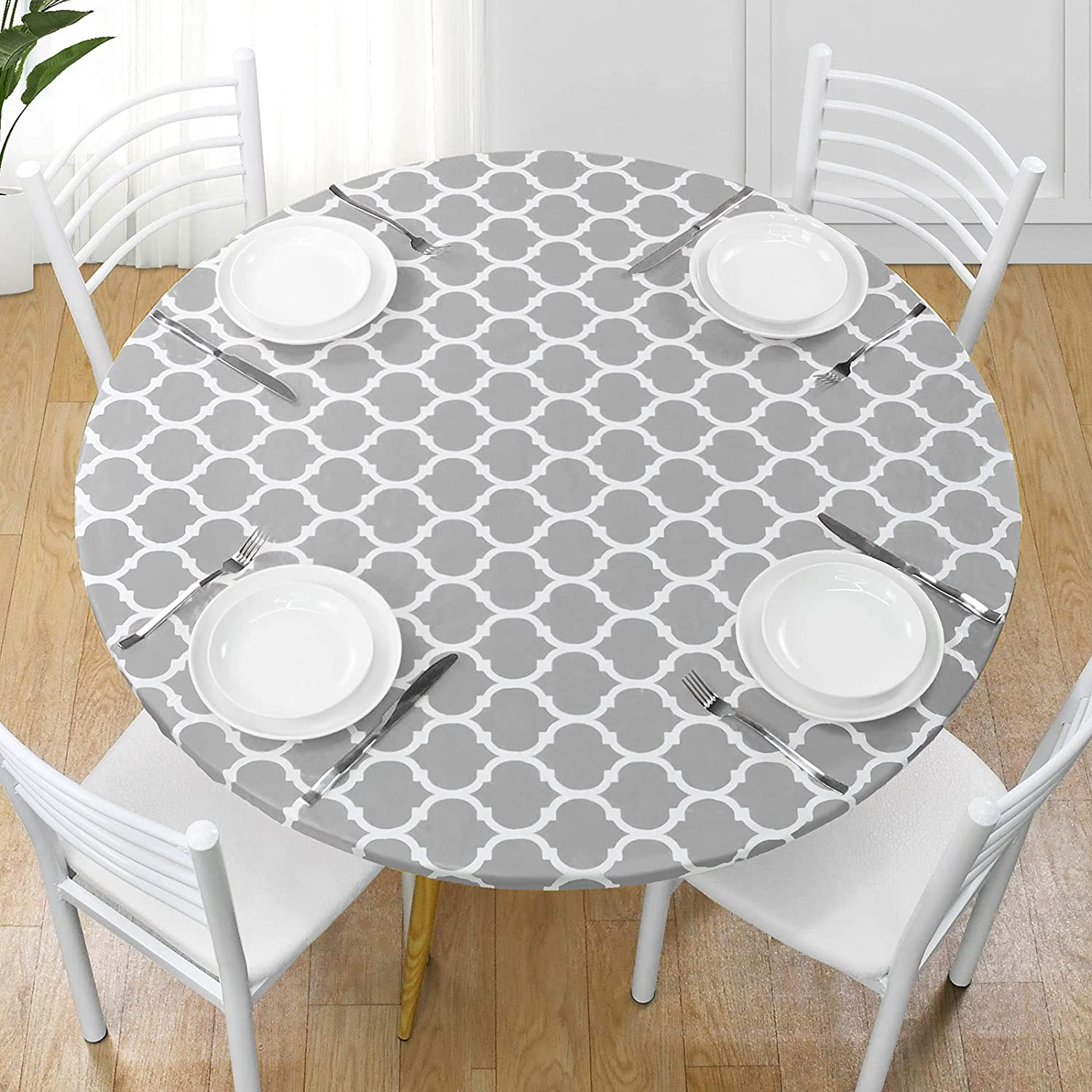 Yoochee Round Fitted Vinyl 2021 model Tablecloth Backing Our shop OFFers the best service Elast Flannel with