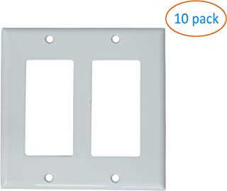 Kenuco White Double Gang Decora/GFCI Wall Plate, Standard Size, Thermoplastic Nylon, Device Mount | Pack of 10