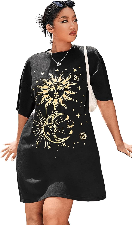 SOLY HUX Women's Plus Size Graphic Print Half Sleeve Loose T Shirt Dress