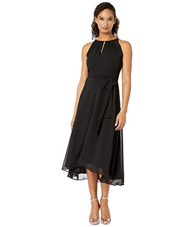 Tahari by ASL Sleeveless Chiffon Keyhole Midi (Black) Women