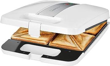 Clatronic ST 3629 Sandwichmaker voor 4 sandwiches, 1200 W, 1 Cubic_Feet, 1 decibel, kunststof, wit