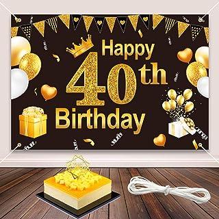 40 Decoracion Cumpleaños, Elegante y Duradero 40o Cumpleaños Banner Telón de Fondo de Cumpleaños para Decorar La Fiesta de Cumpleaños, con Happy Birthday Cake Topper