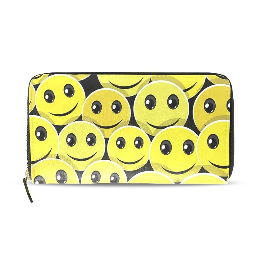 試みる指紋バスユサキ(USAKI) 長財布 レディース 大容量 ラウンドファスナー 革 おしゃれ コインケース 誕生日 プレゼント 顔 微笑み かわいい イエロー