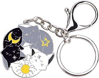 Avamie Cat Keychain, Three Cats Hugging Circle Enamel Cat Keychain, Yin and Yang Life Balance Cute Cat Metal Key Chain, Ch...
