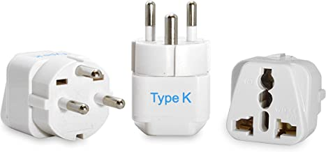 Ceptics Denmark Travel Plug Adapter (Type K) - 3 Pack (Does Not Convert Voltage) (GP-20-3PK) [Grounded & Universal]