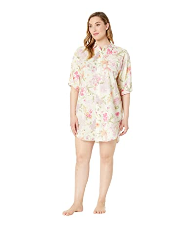 LAUREN Ralph Lauren Plus Size 3/4 Sleeve His Shirt Sleepshirt (Multi Floral) Women