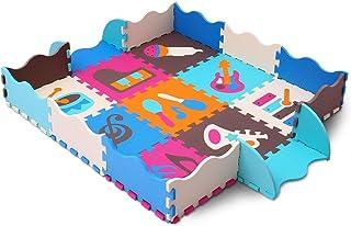 qqpp Alfombra Puzzle para Niños Bebe Infantil - Suelo de Goma EVA Suave. 9 Piezas (30*30*1cm), 16 Piezas de Valla, Instrumento Musical. QQP-09b9F16
