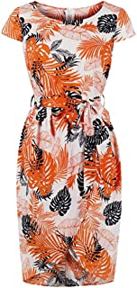 Women Short Sleeve Leaf Print Casual Pencil Dress Evening Party Dress
