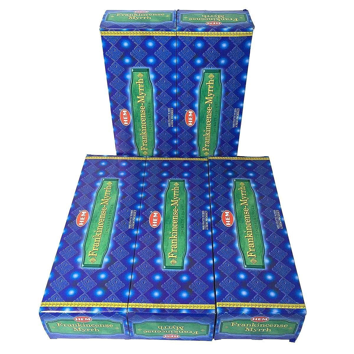 脅威数学者道徳のHEM フランキンセンス-ミルラ香 スティック 5BOX(30箱)/HEM FRANKINCENSE MYRRH/ インド香 / 送料無料 [並行輸入品]