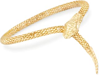Italian 18kt Gold Over Sterling Silver Diamond-Cut Snake Bracelet