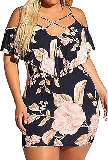 فساتين الصيف للنساء كبيرة الحجم مثير حزام الأزهار ميدي اللباس بارد الكتف الخامس الرقبة كوكتيل حزب البسيطة اللباس
