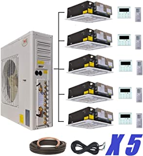 YMGI Five Zone 5 Zone 60000 BTU 5 x 12000 5 Tons Ceiling Cassette Ductless Mini Split Air Conditioner with Heat Pump for Home, Office, Apartment with Free 25 Ft Lineset Installation Kits