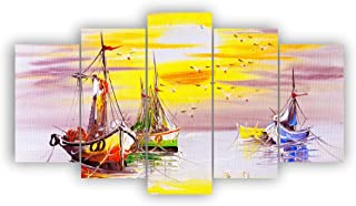 Alura Art N Frames Set Of 5' Beautiful Boats and Sunset Modern Wall Art Painting ( 17 Inch X 30 Inch) AAFM 1015