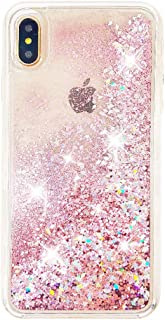 uCOLOR Rose Pink Glitter Case Compatible for iPhone Xs Max Waterfall Liquid Sparkling Quicksand Clear Protective Case Compatible for iPhone Xs Max(6.5 inch)