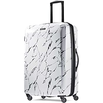 American Tourister Moonlight Hardside Expandable Luggage with Spinner Wheels, Marble, Checked-Large 28-Inch