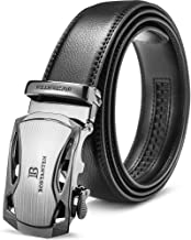 BOSTANTEN Men's Leather Belts Sliding Buckle Dress Ratchet Belt Black